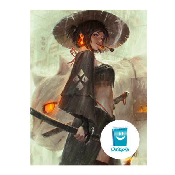 descargar poster, poster chile, descargar grafica, descargar poster samurai girl 02, croquis chile, arte y publicidad chile, arte digital chile